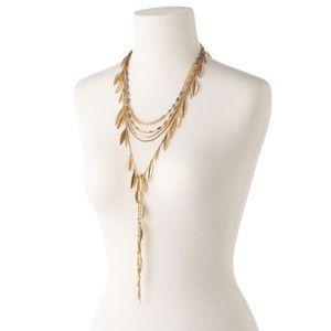 STELLA & DOT Gold Leaf Fringe Necklace